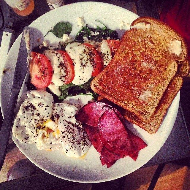 , tomato & spinach w/ oregano, poached eggs, german salami & toast ...